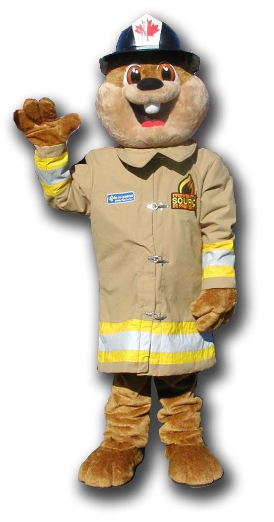 Burny the Firefighting Beaver Mascot